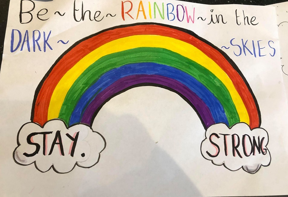 Rainbow with the written message: stay strong
