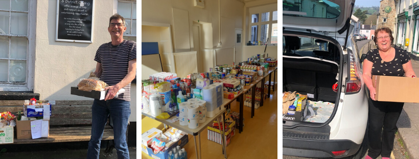 Volunteers make essential food deliveries and community donations to the new food bank (centre)
